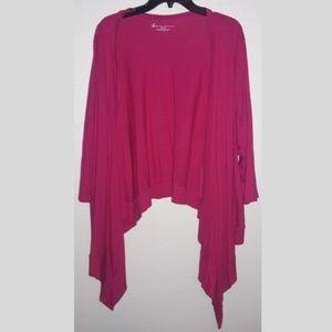 Lane Bryant pink cardigan asymmetrical overpiece